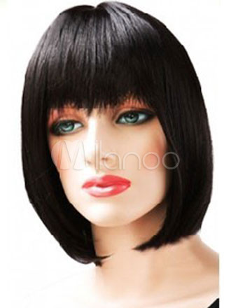 Black Hair Wigs 2018 Women Layered Short Straight Synthetic Bob Hair Wigs