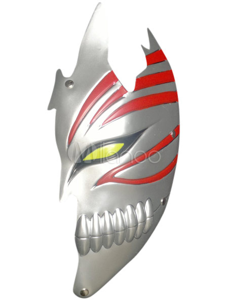 Silvery PVC Bleach Kurosaki Ichigo Hollow Half Face Cosplay Mask Halloween