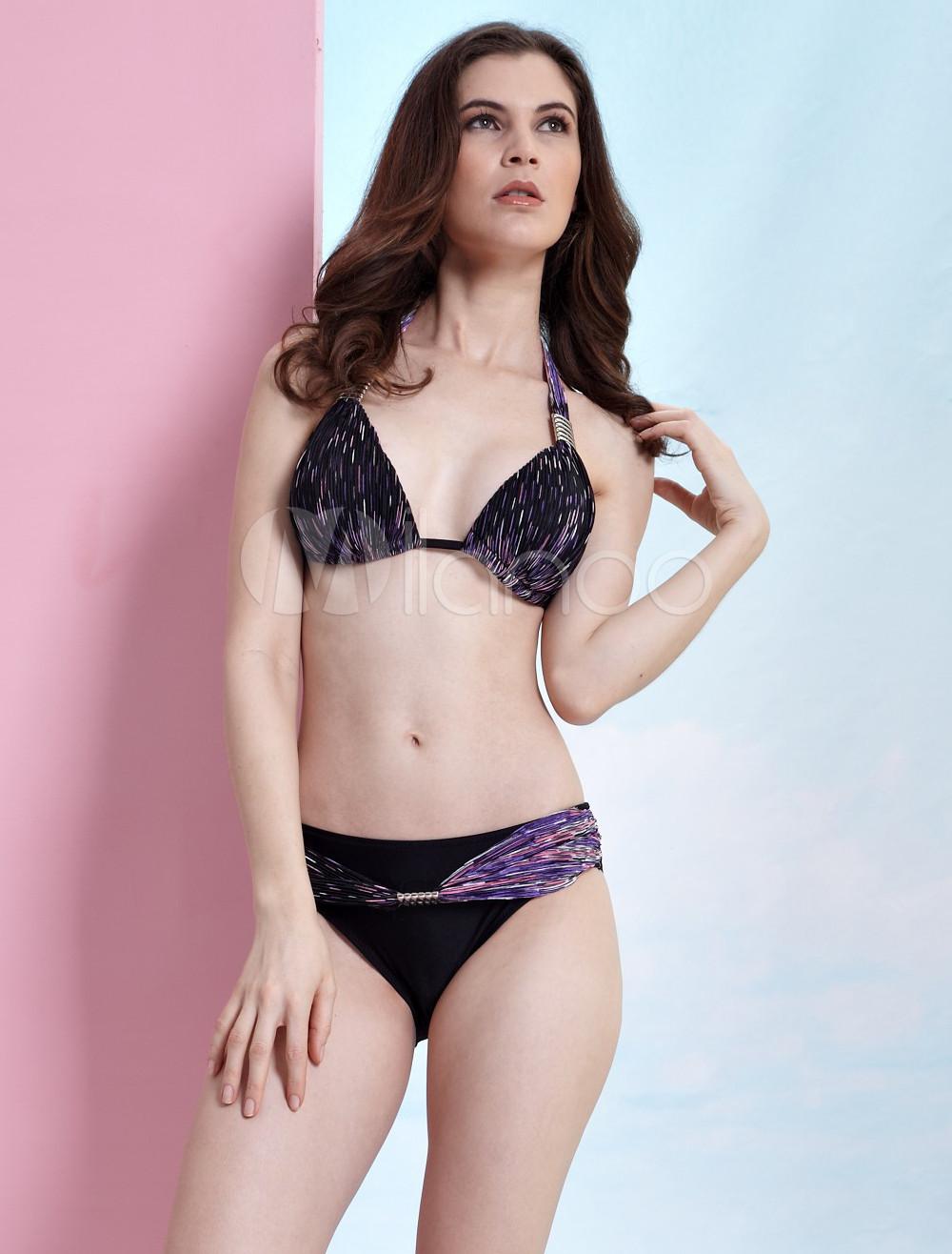Sexy Black And Purple 80% Nylon 20% Lycra Womens Bikini Swimsuit
