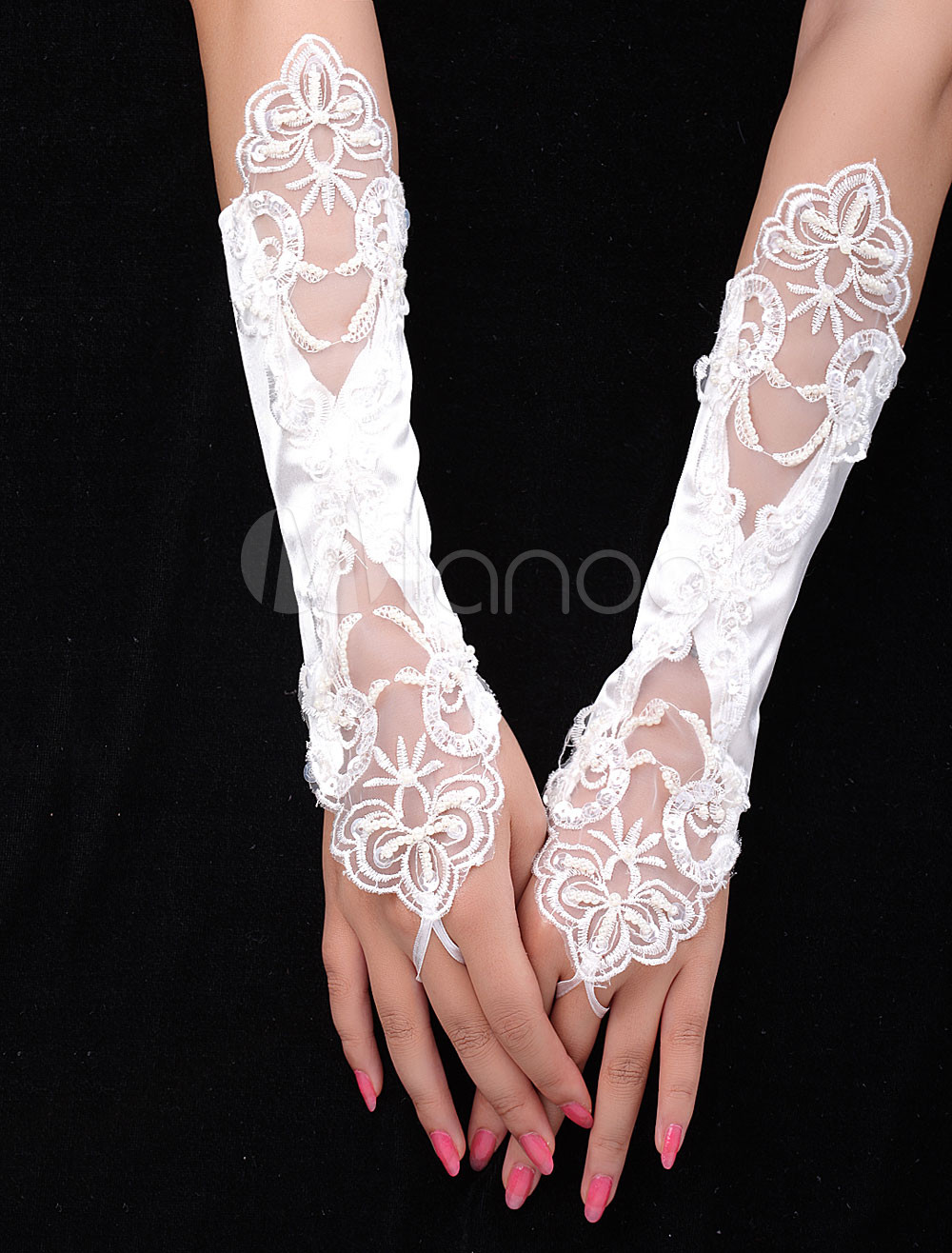 Lace flowers Ivory Satin Fingerless Bridal Gloves