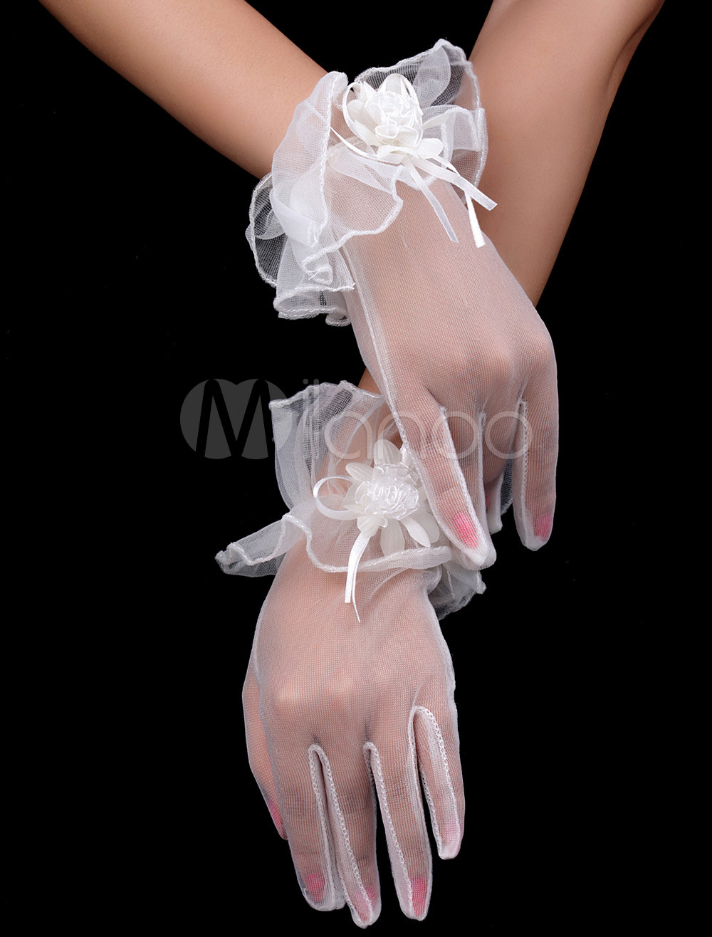 Transparent White Satin Applique Wedding Short Gloves For Brides