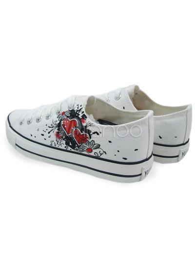... jolies chaussures pour femmes en toile blanche avec semelle en  caoutchouc et motifs fleur peints à ...