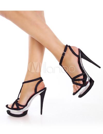 a468012f73b45 Sandalias con plataforma y tiras en forma de T de color negro de estilo  sexy-