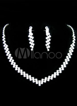 White Rhinestone Alloy Chic Wedding Earrings and Necklace