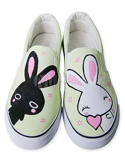 Buy Cute Green Canvas TPR Sole Rabbit Scrawl Womens Painted Shoes for $19.94 in Milanoo store