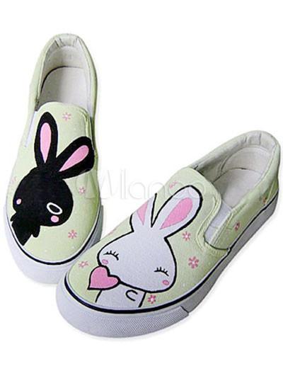 ... mignonnes chaussures pour femmes vertes avec semelle en caoutchouc TPR  et griffonnage lapin-No. ...