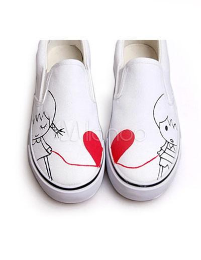 Zapatos Con De Mano Amantes Pintados A Lona c5LA4jq3R