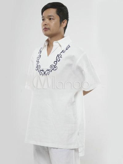 tenue de yoga homme classique blanche 55 coton 45 lin. Black Bedroom Furniture Sets. Home Design Ideas