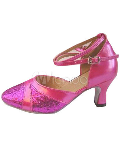 Gorgeous Pink PU Leather 2 3/5'' High Heel Womens Latin Dance Shoes