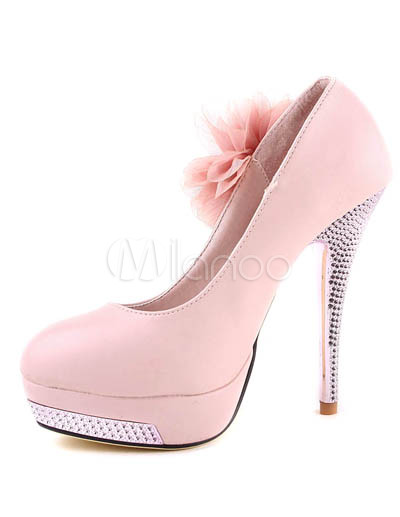 Beautiful pink pu 5 110 high heel flower decorated pumps beautiful pink pu 5 110 high heel flower decorated pumps mightylinksfo