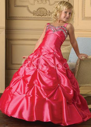 Heiße rote Taffeta Sweetheart Ballkleid kleine Mädchen Kleid ...