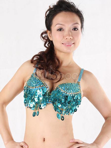0c7192a3ae38 Belly Dance Costume Bra Green Cotton Sequin Bollywood Dance Lingerie ...