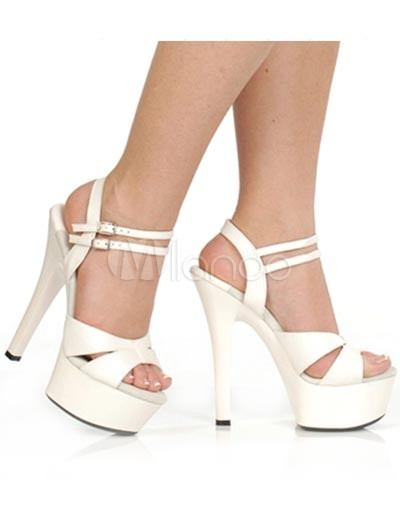 Gorgeous White 2'' Platform 5 9/10'' High Heel Patent Leather Womens Sexy Heels