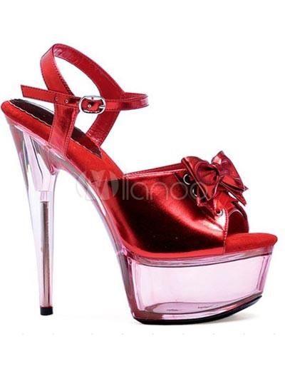 Chaussures sexy femmes adorables avec nœud de papillon rouge aux talons  hauts en cuir verni PU