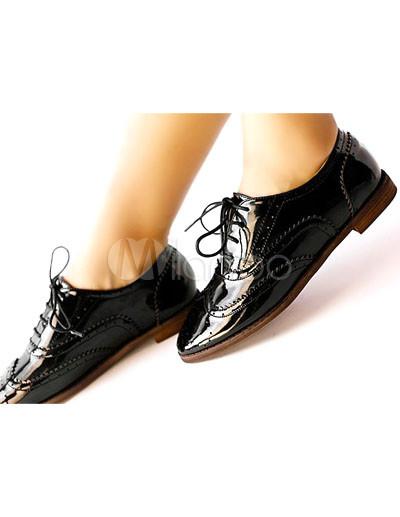 chaussures Richelieu pour femmes en cuir verni noir,No.2