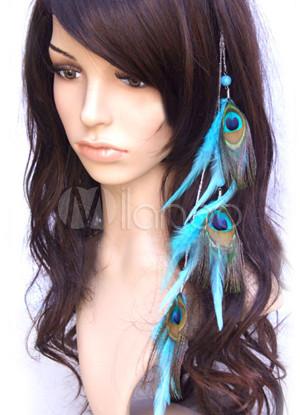 extensions de cheveux femme 35cm alliage plume de paon bleue l gant. Black Bedroom Furniture Sets. Home Design Ideas