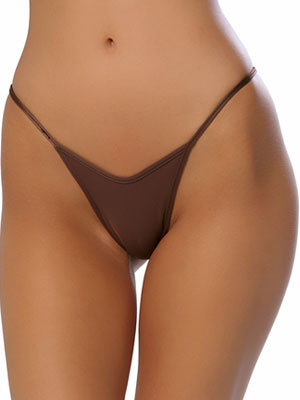 Brown Acrylic Spandex Thong Cheap clothes, free shipping worldwide