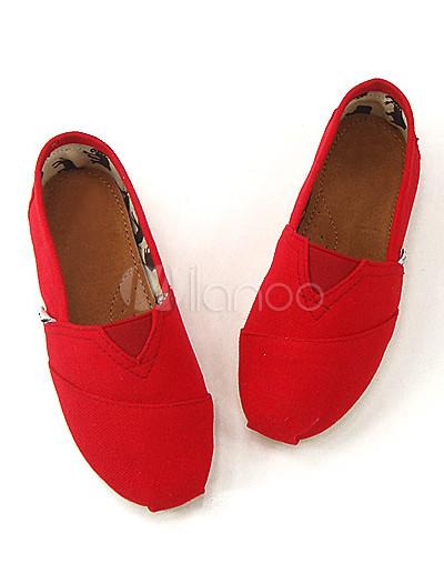 No goma rojo mujer de lienzo zapatos Pisos suela de la 3 nzx8pYq71