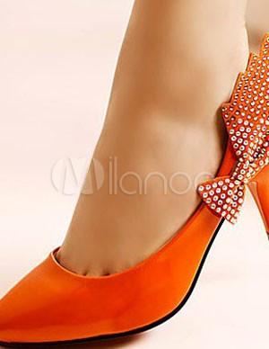 Scarpe Arancioni Sposa.Arancione 3 Alto Tacco Bow Patent Leather Womens Carriera Scarpe