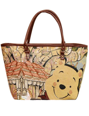 Colorful Winnie The Pooh 30 15 30cm Canvas Womens Tote Handbags No