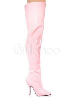 Milanoo / Pink 4 1/10 High Heel Pointed Toe Patent Leather Sexy Boots For Women