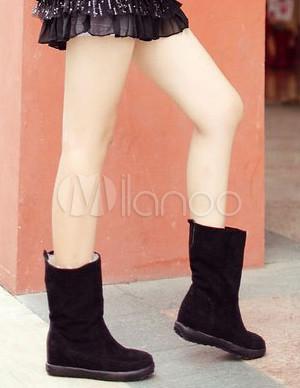 Cálido botas negras de gamuza PU monograma Womens nieve plana