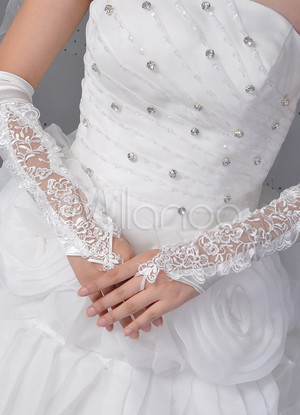 White Wedding Bridal Mitten Applique Lace Cut Out Elbow Length Mitten