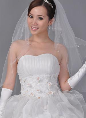 White 90*150cm Beading Net Yarn Bridal Wedding Veil