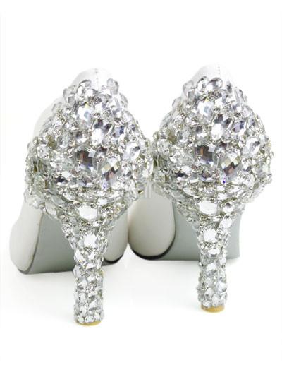 White Leather Rhinestone Decoration Wedding Bridal Shoes Milanoo Com