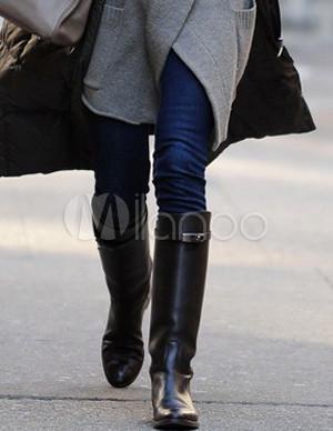 hot sales 8ccc3 97372 Cool flache schwarze Kuh Leder Gummi-Sohle Damen Stiefel