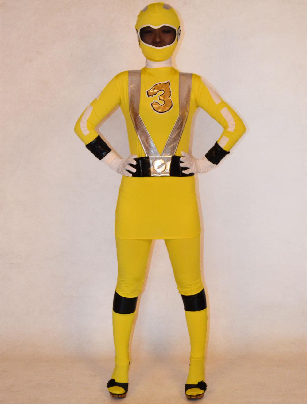 Yellow Super Sentai Lycra Spandex Unisex Zentai Suit Halloween