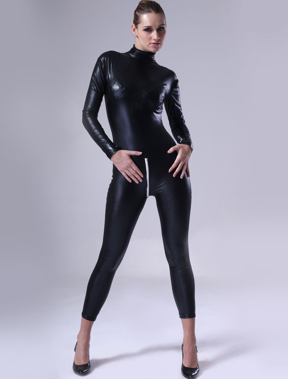 Black Women Catsuit Shiny Metallic Halloween Costume Cosplay Halloween