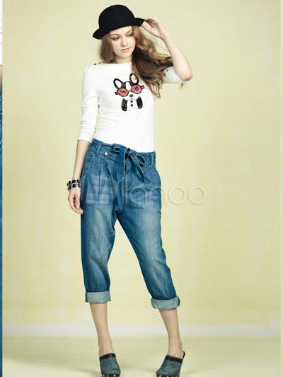 Varios De Tres Cuartos Blue Jeans Pantalones De Algodon De La Mujer Milanoo Com