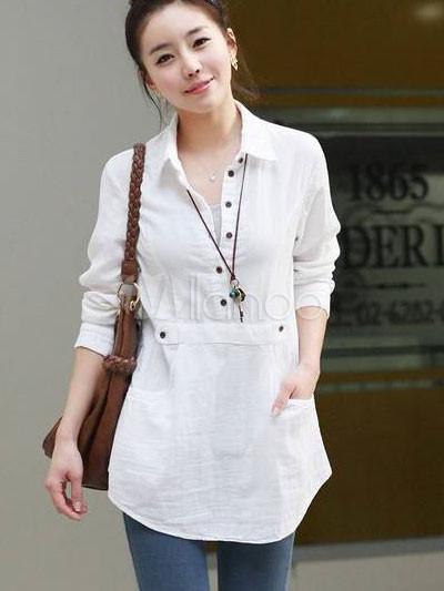 Figuring White Turndown Collar Long Sleeve Cotton Shirt Milanoo Com