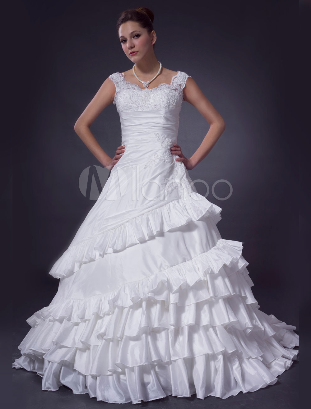 Ivory ball gown off the shoulder taffeta wedding dress for Off the shoulder taffeta wedding dress