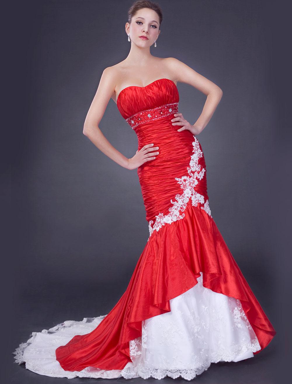 Robes de mariage rouge chérie sirène robe de mariée ruché perles dentelle  appliques robe de mariée africaine , Milanoo.com