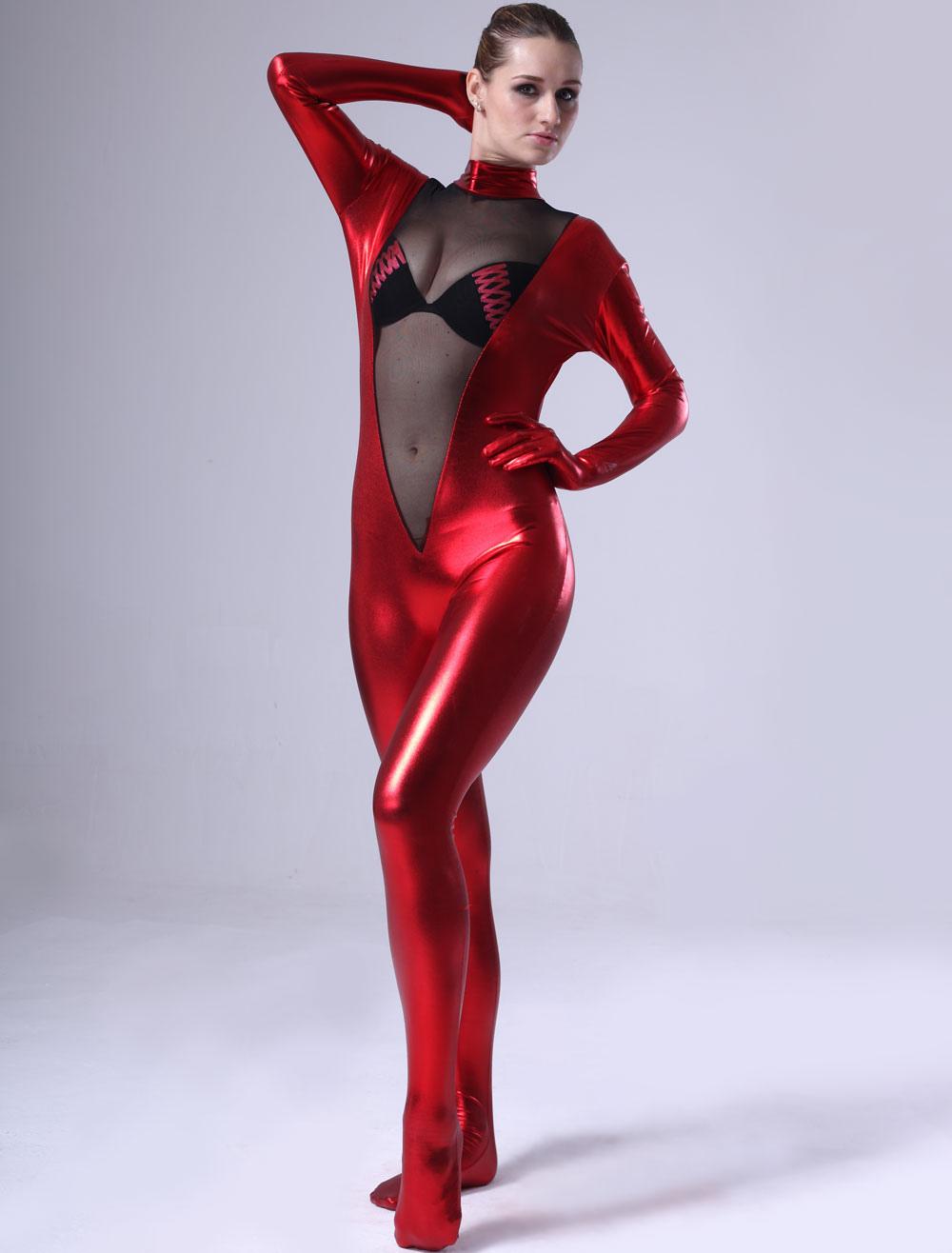 Halloween Red Women Shiny Metallic Catsuit Halloween