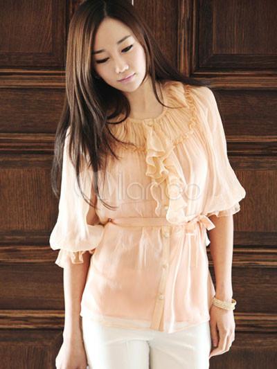 Sexy Orange Ruffle Front Silk Blouse For Women