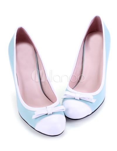 Light Blue Sheepskin Bow High Heel Womens Fashion Pumps - Milanoo.com fadc20686