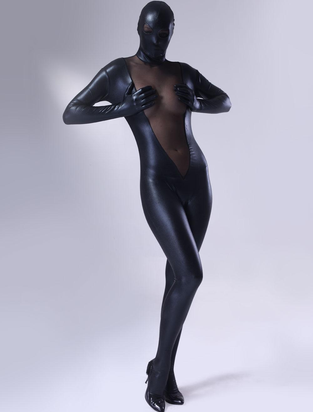 Sexy Black Lycra Zentai Suit Halloween Costume Cosplay for Women  Halloween