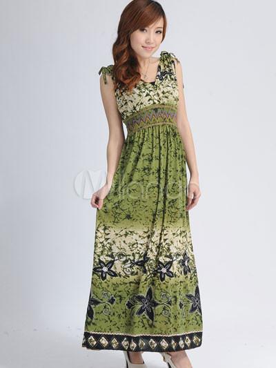 Bohemian Olive Green Cotton Polyester Deep V-neck Sleeveless Womens ...