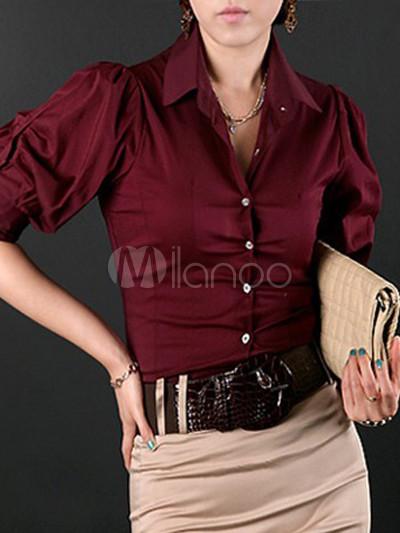 Burgundy Cotton Silk Half Sleeves Womens Fashion Shirt