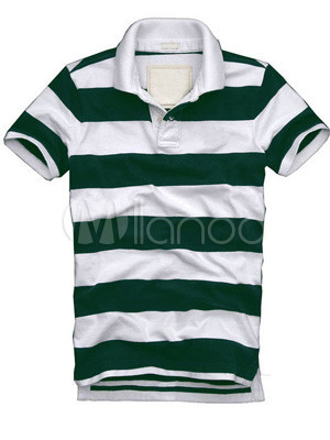 Casual Green And White Stripe Mens Polo Shirt - Milanoo.com