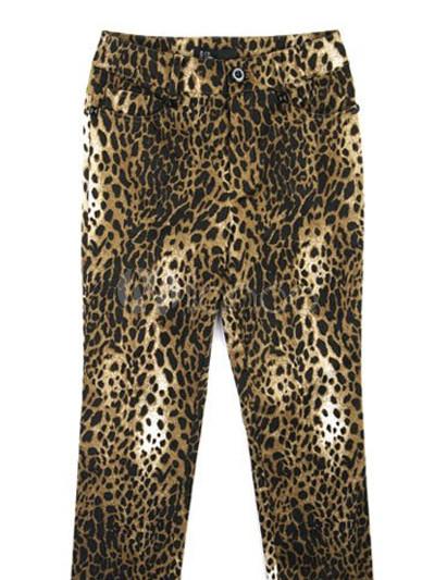 Casual Gelb Leopard Cotton Spandex Hosen Damen Karotte