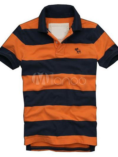 Orange And Royal Blue 100 Cotton Deer Stripes Man S Polo Shirt Milanoo Com