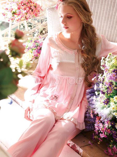 speziell für Schuh präsentieren schön billig Sexy rosa Baumwolle Fibre Langarm Damen Pyjama