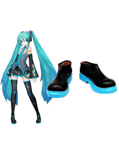 Stylish Vocaloid Hatsune Miku Imitated Leather Cosplay Shoes Halloween