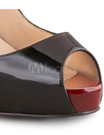 f878edd0d663 ... 4 3 4   High Heel Black Patent Peep Toe Sexy Sling Back Shoes ...