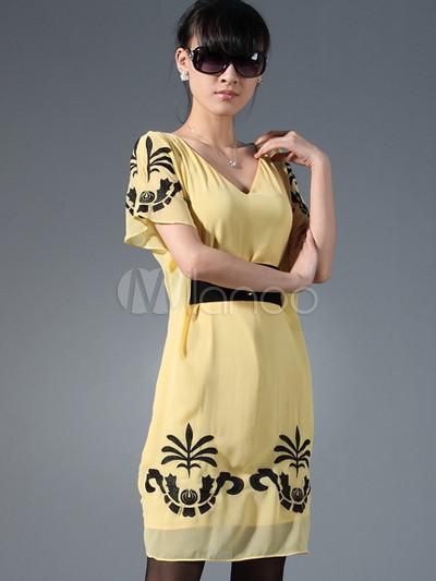 super popular b1dd1 8e9cb Elegante ricamo Giallo maniche di seta Abiti Corti da donna