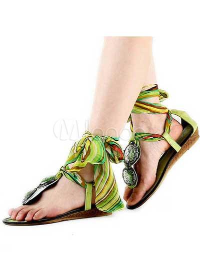 Mujer Pu Apartamento Verde Zapatos Exóticos Para EHIDW29
